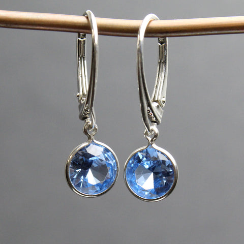 Aquamarine Earrings with Sterling Silver Lever Backs