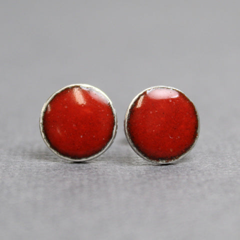 Red Enamel Stud Earrings, 9mm Sterling Silver Studs