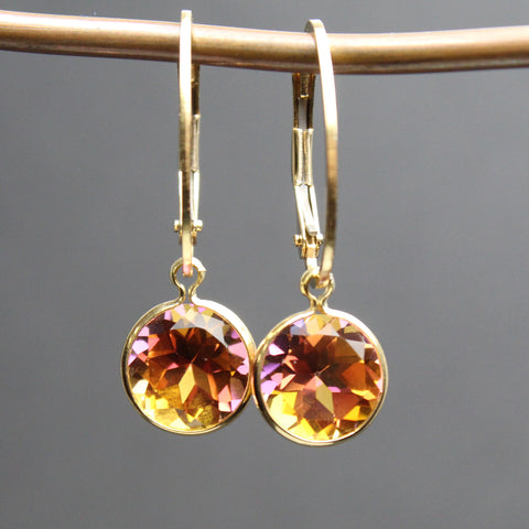 Anastasia Topaz Gold Filled Lever Back Earrings