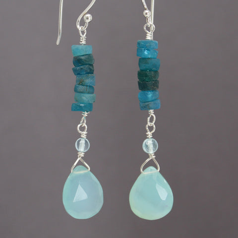 Apatite and Chalcedony Earrings in Sterling Silver