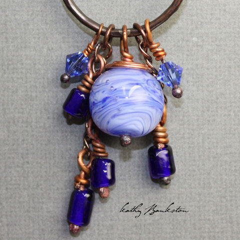 Blue Beaded Copper Charm Necklace