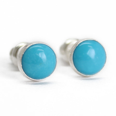 Turquoise Stud Earrings, 6mm Genuine Blue Turquoise in Sterling Silver