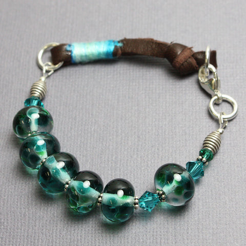 Blue Green Lampwork Bracelet with Leather