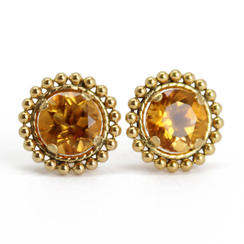 Citrine Gold Filled Stud Earrings