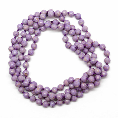 River Stone Hand Knotted Bead Necklace, 30 Inches