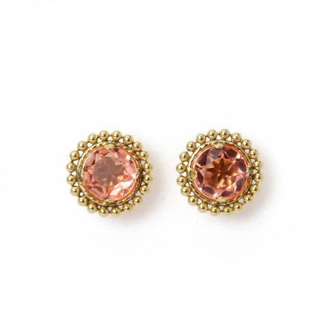 Morganite Crystal Quartz Gold Filled Stud Earrings