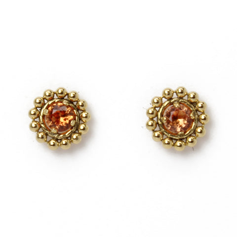 Padparadscha Gold Filled Stud Earrings