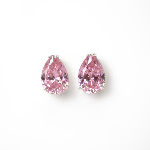 Pink CZ Pear Shaped Stud Earrings in Sterling Silver