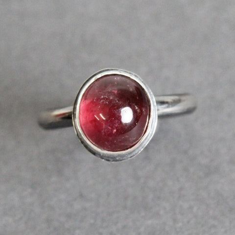 Pink Tourmaline Ring Bezel Set in Sterling Silver, 6.5 US