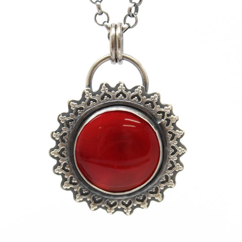Red Rosarita Necklace in Sterling Silver