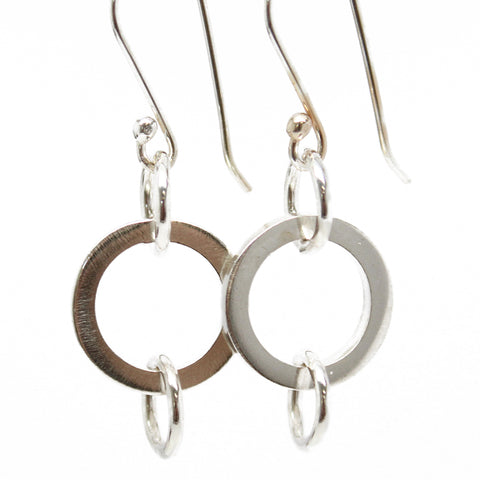 Round Sterling Silver Dangle Earrings, Silver Circle Drop Earrings