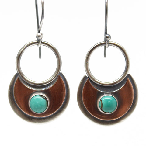 Silver and Copper Turquoise Earrings