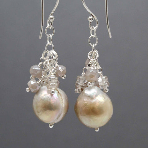 Small Baroque Pearl Earrings with Moonstone and Zircon Clusters