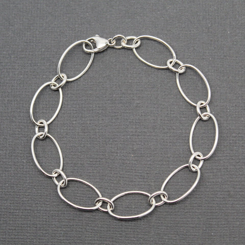 Oval Round Sterling Silver Chain Bracelet