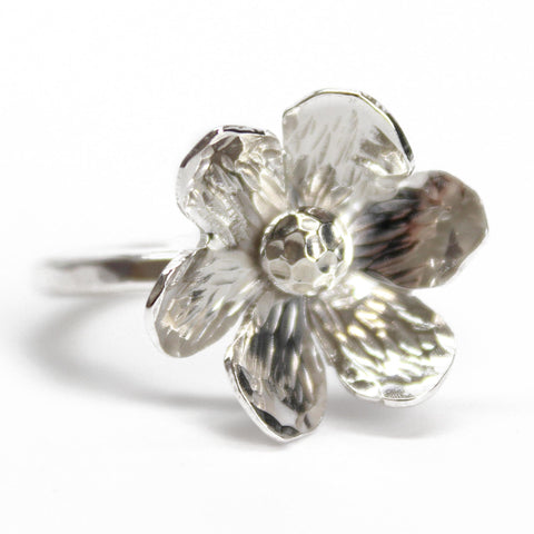 Sterling Silver Flower Ring Size 7.0 US