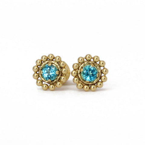 Paraiba Blue Topaz Gold Filled Stud Earrings-3mm Gemstones