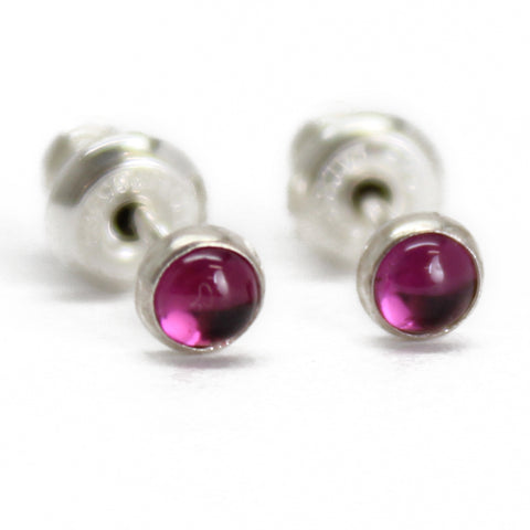 Rhodolite Garnet Stud Earrings, Tiny 3mm Pink Studs in Sterling Silver