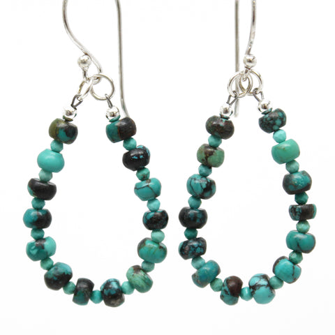 Turquoise Teardrop Earrings in Sterling Silver