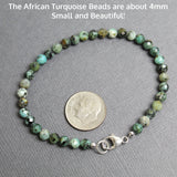 African Turquoise Bracelet with Sterling Silver Clasp