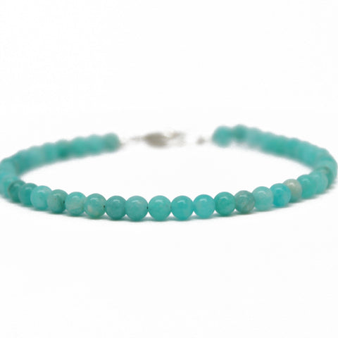 Amazonite Bead Bracelet with Sterling Silver Clasp