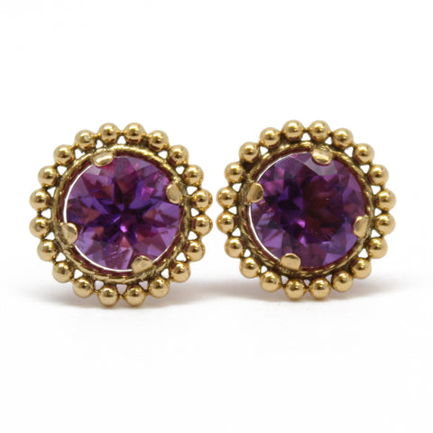 Amethyst Gold Filled Stud Earrings