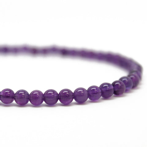 Amethyst Bead Necklace, Single Strand