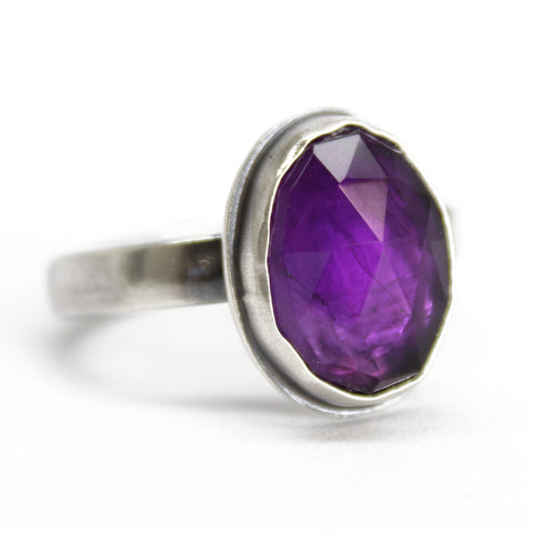 Purple Amethyst Ring in Sterling Silver, 7.75 US, Handmade