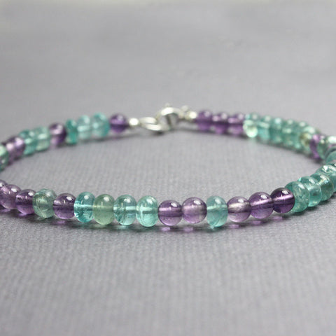 Apatite and Amethyst Bracelet
