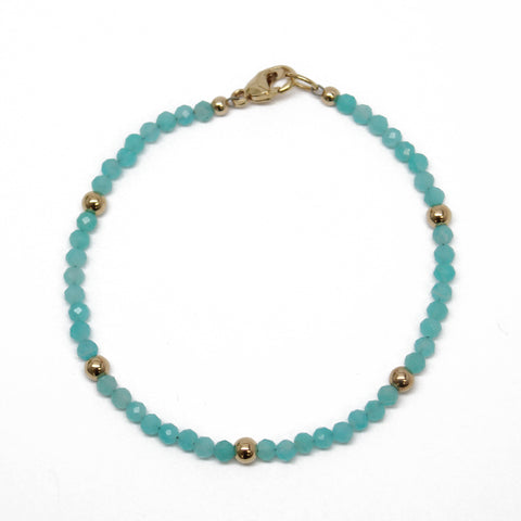 Amazonite and Gold Filled Bead Bracelet, 7.25 Inches