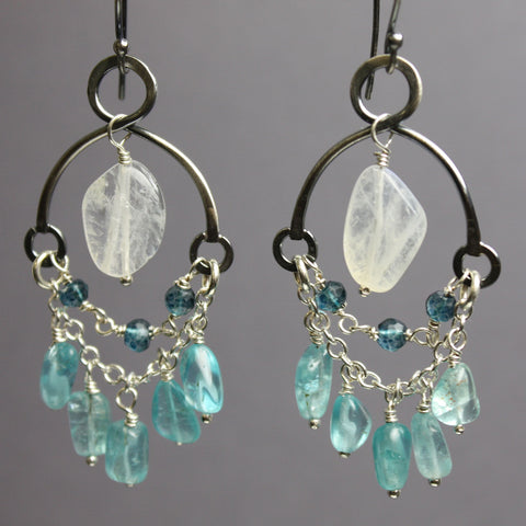 Apatite and Moonstone Chandelier Earrings