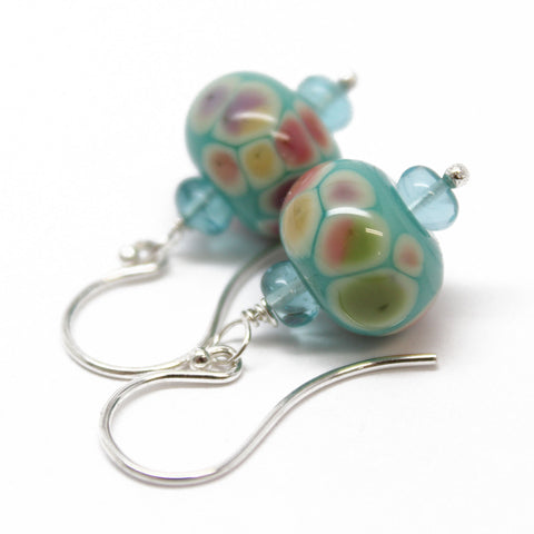 Aqua Blue and Pink Lampwork Bead Earrings with Sterling Silver Ear Wires