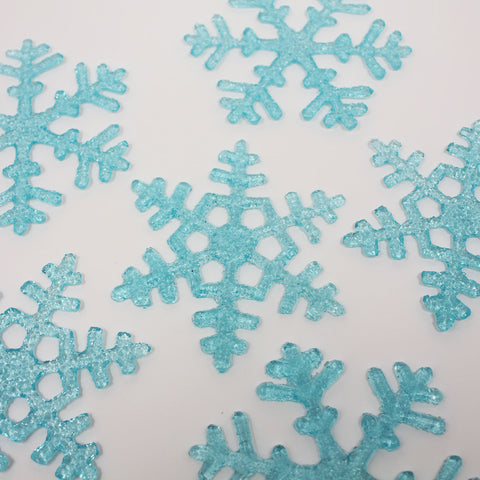 Aqua Blue Fused Glass Snowflakes - Set of Six
