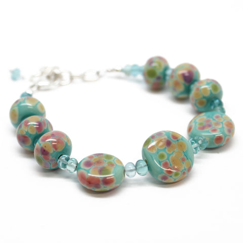 Aqua Blue Lampwork Bead and Apatite Bracelet