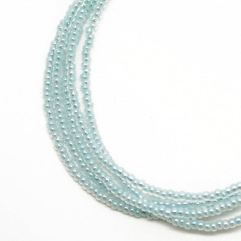 Blue Seed Bead Necklace-Light Aqua Blue-Single Strand