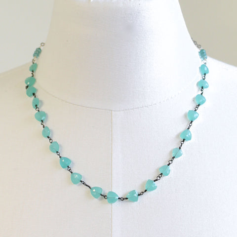 Aqua Chalcedony Necklace in Sterling Silver 19.5 Inches Long
