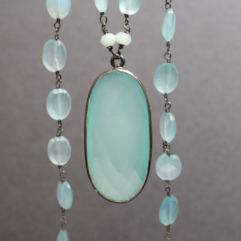 Aqua Chalcedony Necklace with Peruvian Opals