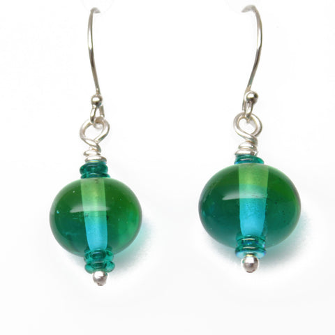Blue Green Lampwork Earrings