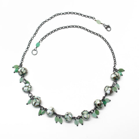 "Lampwork Bead Necklace with Faceted Chrysoprase Dangles, 18"" L"