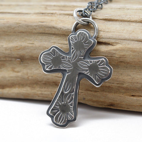 Hand Stamped Sterling Silver Cross