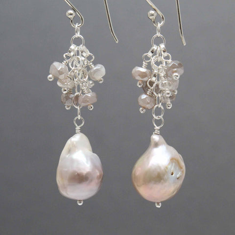 Baroque Pearl Earrings with Moonstone and Zircon Clusters