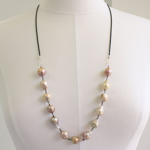 "Baroque Pearl Necklace-Sterling Silver-30"" L"