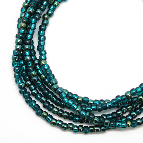Metallic Teal Seed Bead Necklace