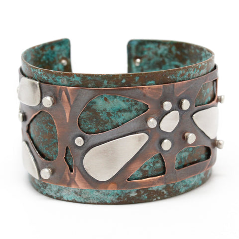 Handmade Copper and Silver Cuff Bracelet