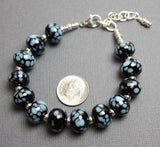 Black & Blue Lampwork Bead Bracelet-Adj to 8.75""