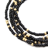 Black and Gold Seed Bead Necklace-Single Strand