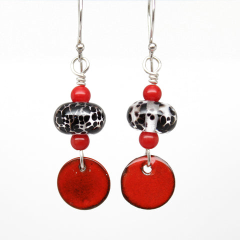 Red and Black Lampwork Bead Dangle Earrings
