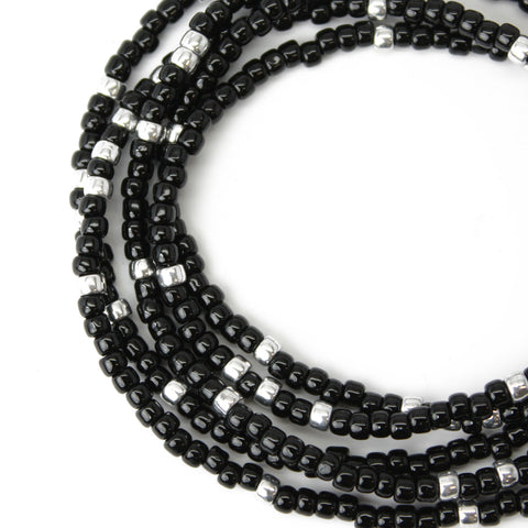 Black and Silver Seed Bead Necklace-Long-Single Strand-8/0 Beads