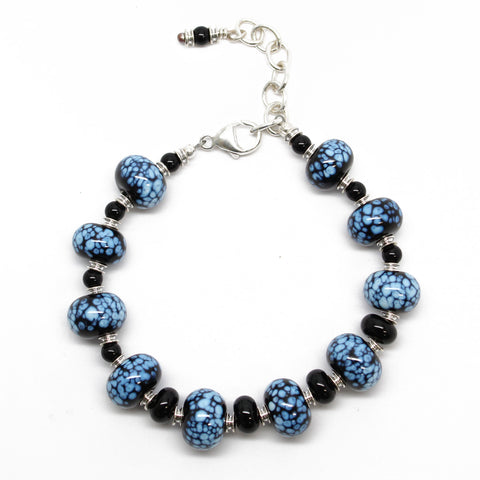 Black & White Lampwork Bead Bracelet~Sterling Silver~ Adjustable