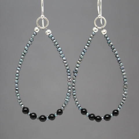 Black Onyx and Silver Pearl Earrings