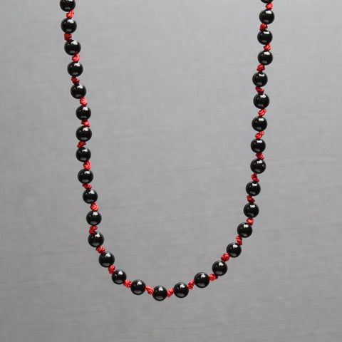 Hand Knotted Black Onyx and Red Silk Necklace, 18 Inches